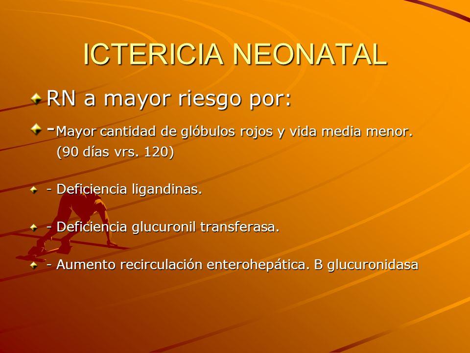 ICTERICIA NEONATAL RN a mayor riesgo por: