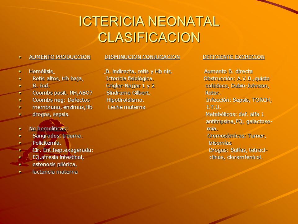 ICTERICIA NEONATAL CLASIFICACION