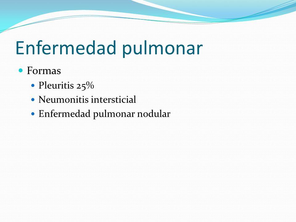 Enfermedad pulmonar Formas Pleuritis 25% Neumonitis intersticial