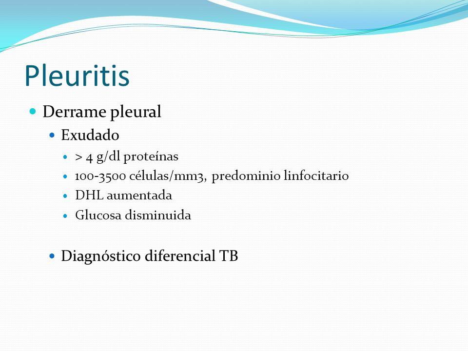 Pleuritis Derrame pleural Exudado Diagnóstico diferencial TB