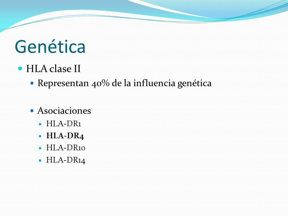 Genética HLA clase II Representan 40% de la influencia genética