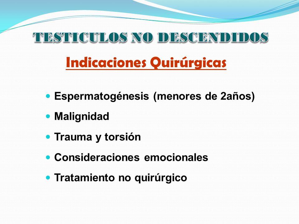 TESTICULOS NO DESCENDIDOS Indicaciones Quirúrgicas