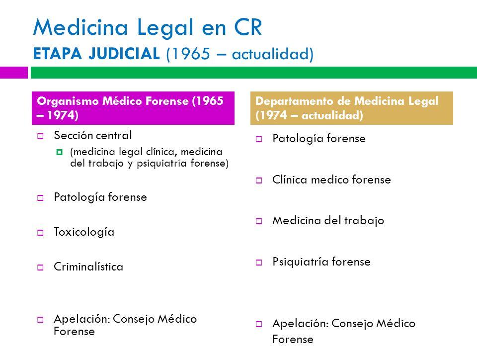 Medicina Legal en CR ETAPA JUDICIAL (1965 – actualidad)
