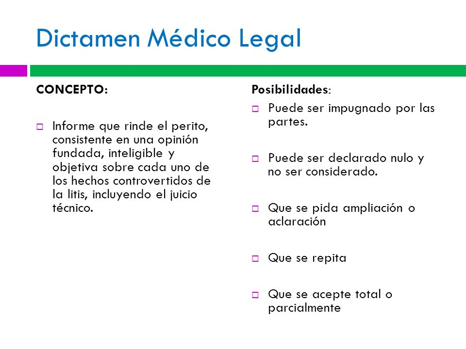 Dictamen Médico Legal CONCEPTO: