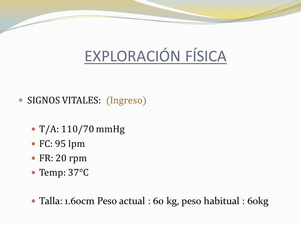 EXPLORACIÓN FÍSICA SIGNOS VITALES: (Ingreso) T/A: 110/70 mmHg
