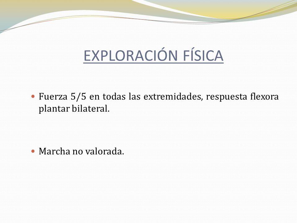 EXPLORACIÓN FÍSICAFuerza 5/5 en todas las extremidades, respuesta flexora plantar bilateral.