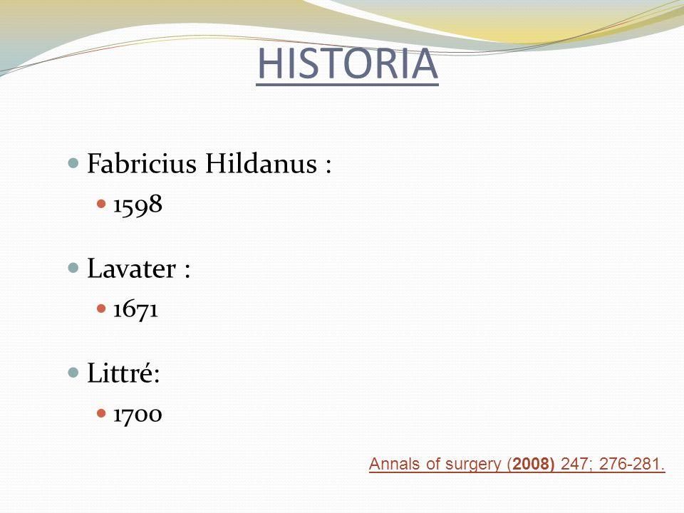 HISTORIA Fabricius Hildanus : Lavater : Littré: 1598 1671 1700