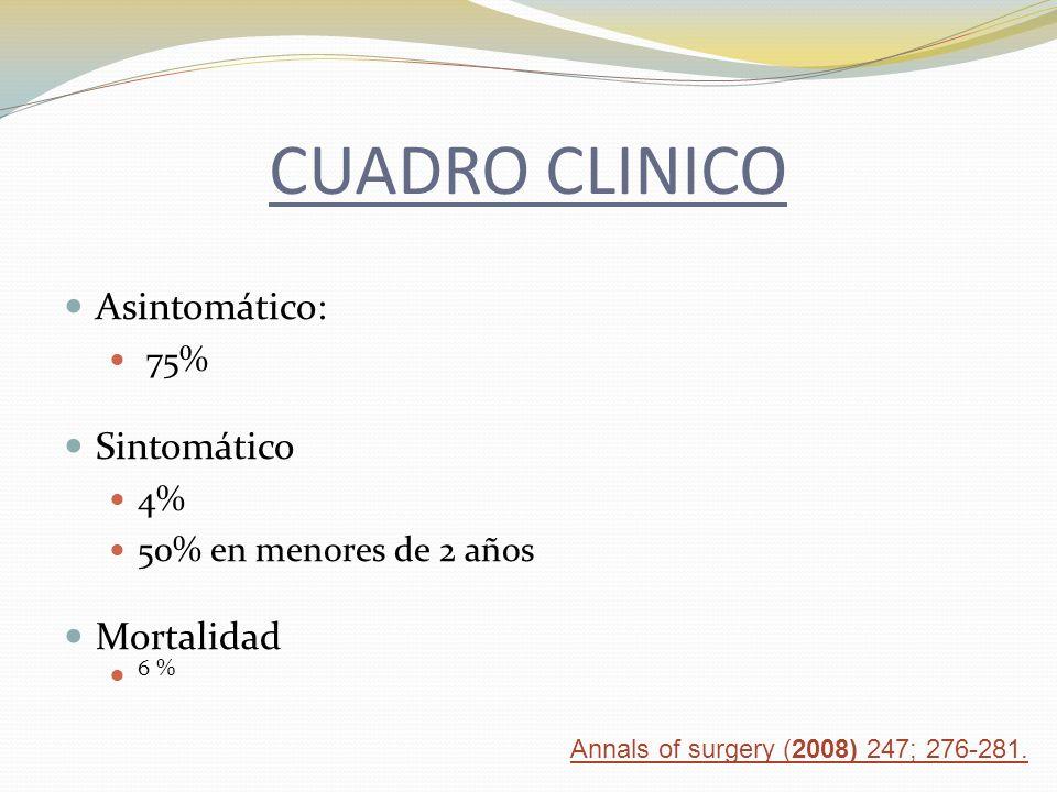 CUADRO CLINICO Asintomático: Sintomático Mortalidad 75% 4%
