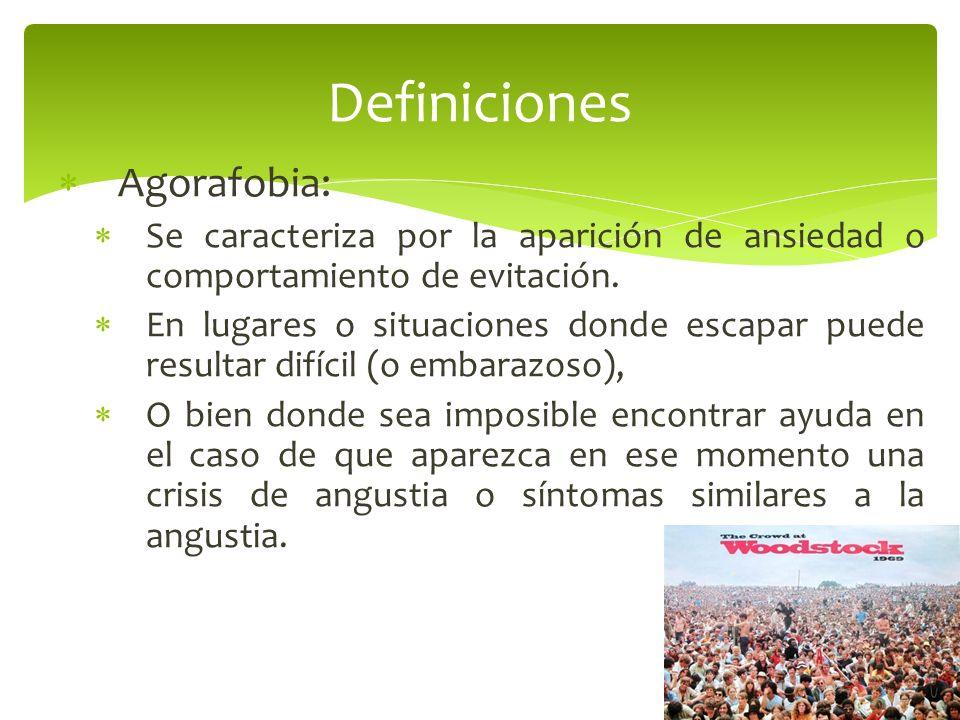Definiciones Agorafobia: