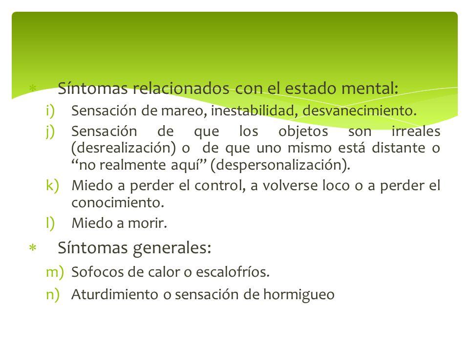Síntomas relacionados con el estado mental: