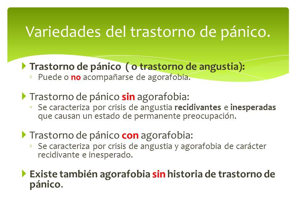 Variedades del trastorno de pánico.