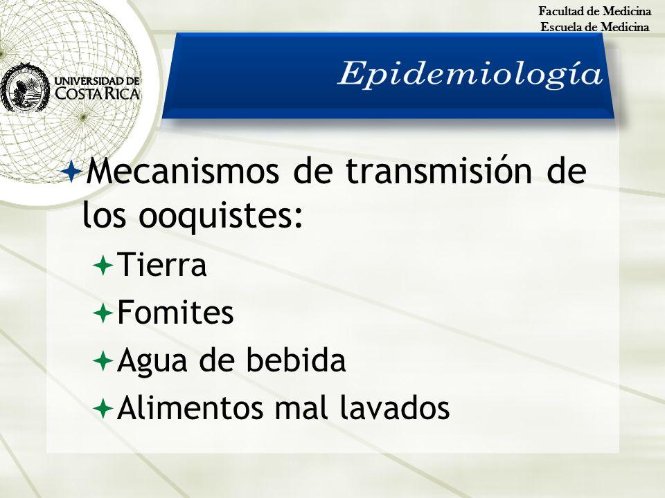 Epidemiología Mecanismos de transmisión de los ooquistes: Tierra