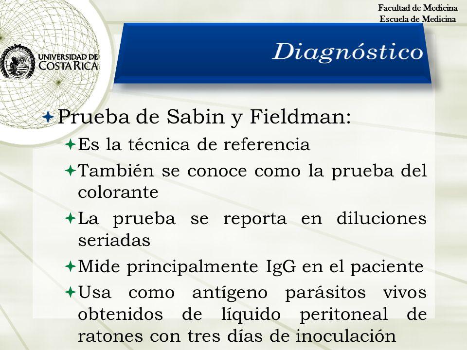 Diagnóstico Prueba de Sabin y Fieldman: Es la técnica de referencia