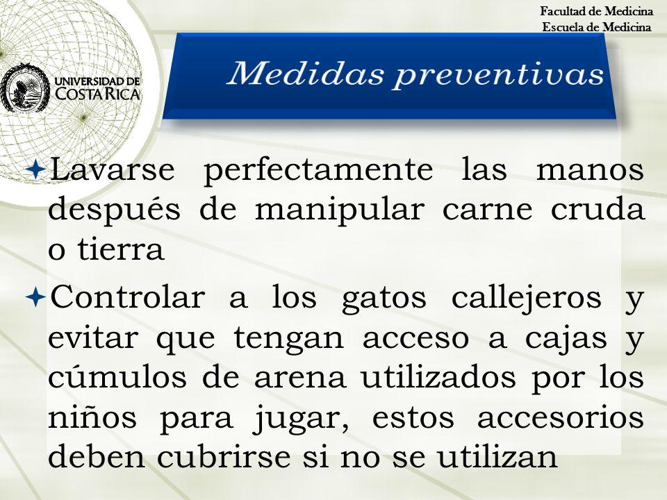 Facultad de MedicinaEscuela de Medicina. Medidas preventivas. Lavarse perfectamente las manos después de manipular carne cruda o tierra.