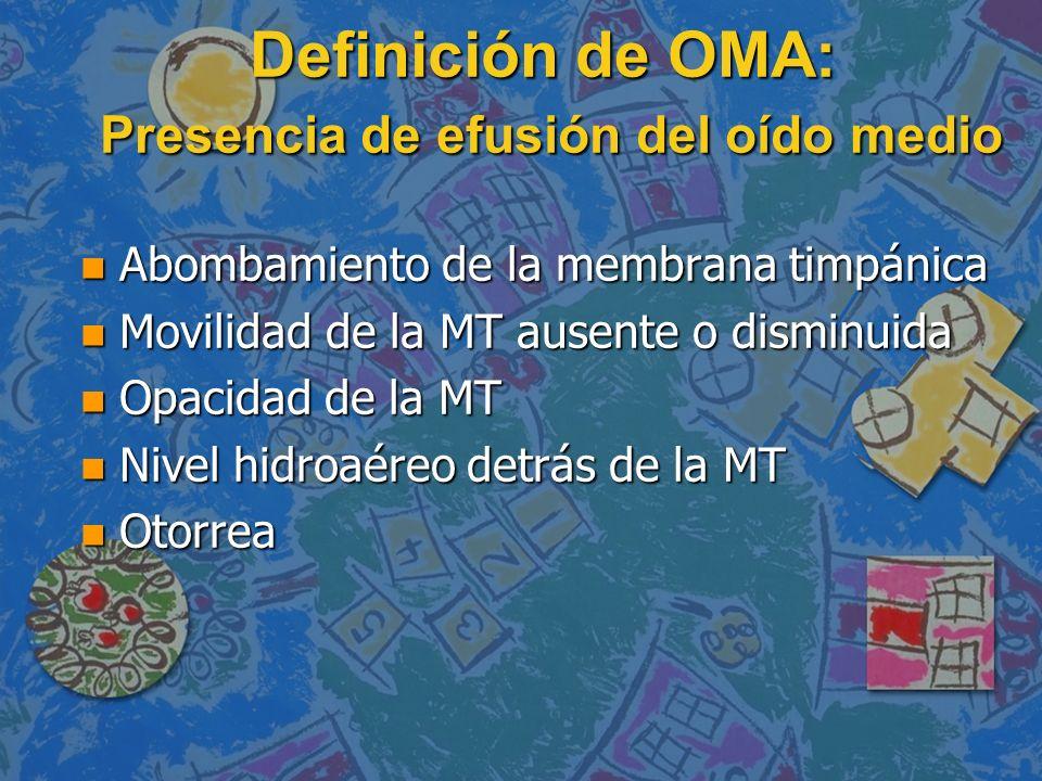Definición de OMA: Presencia de efusión del oído medio
