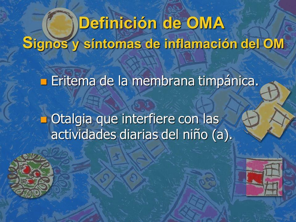 Definición de OMA Signos y síntomas de inflamación del OM