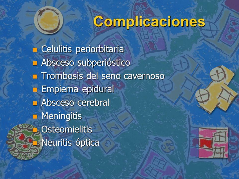 Complicaciones Celulitis periorbitaria Absceso subperióstico