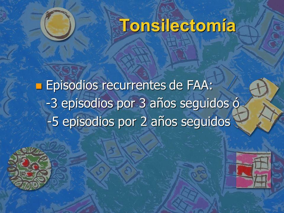 Tonsilectomía Episodios recurrentes de FAA: