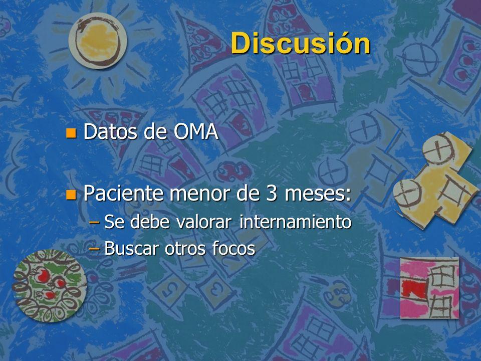Discusión Datos de OMA Paciente menor de 3 meses: