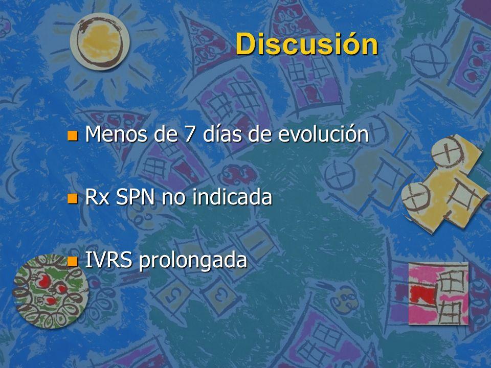Discusión Menos de 7 días de evolución Rx SPN no indicada