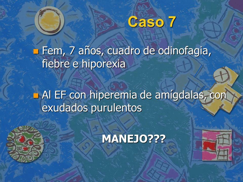 Caso 7 Fem, 7 años, cuadro de odinofagia, fiebre e hiporexia