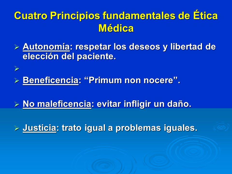 Cuatro Principios fundamentales de Ética Médica