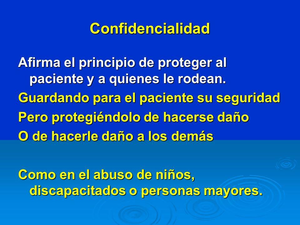 Confidencialidad Afirma el principio de proteger al paciente y a quienes le rodean. Guardando para el paciente su seguridad.