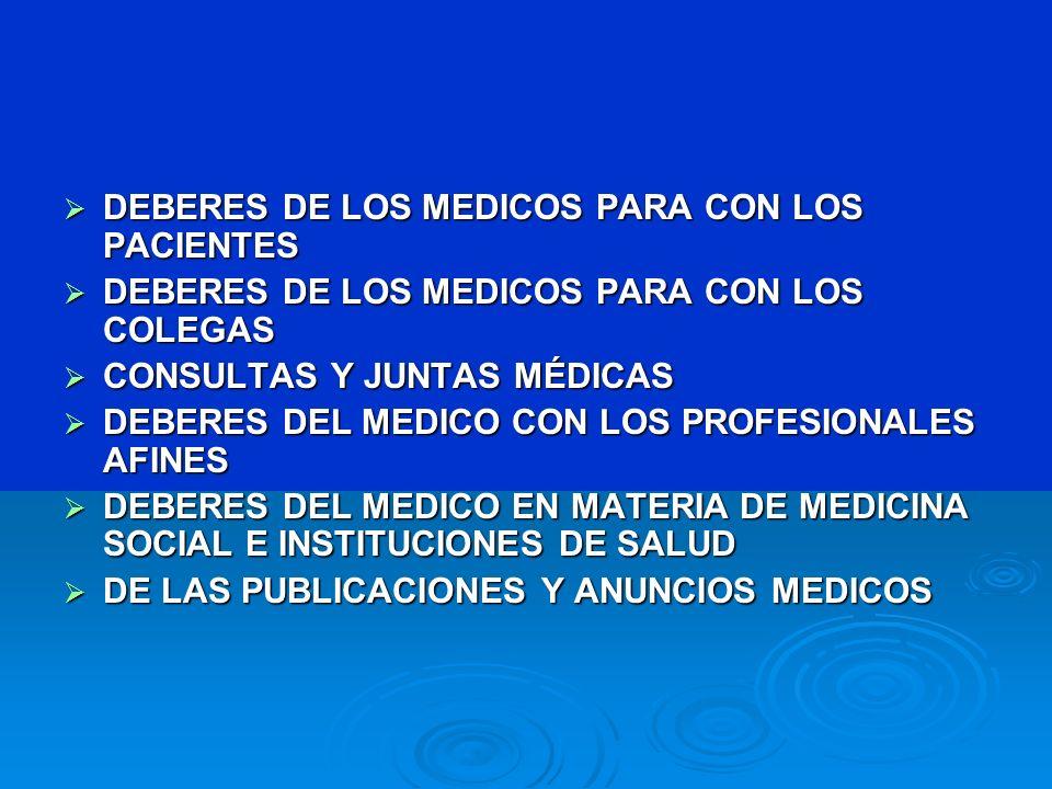 DEBERES DE LOS MEDICOS PARA CON LOS PACIENTES