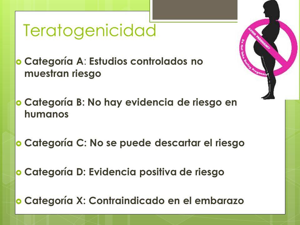 Teratogenicidad Categoría A: Estudios controlados no muestran riesgo
