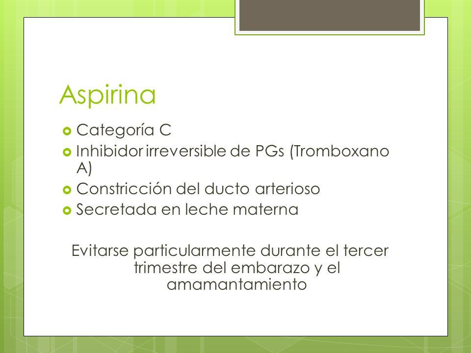 Aspirina Categoría C Inhibidor irreversible de PGs (Tromboxano A)