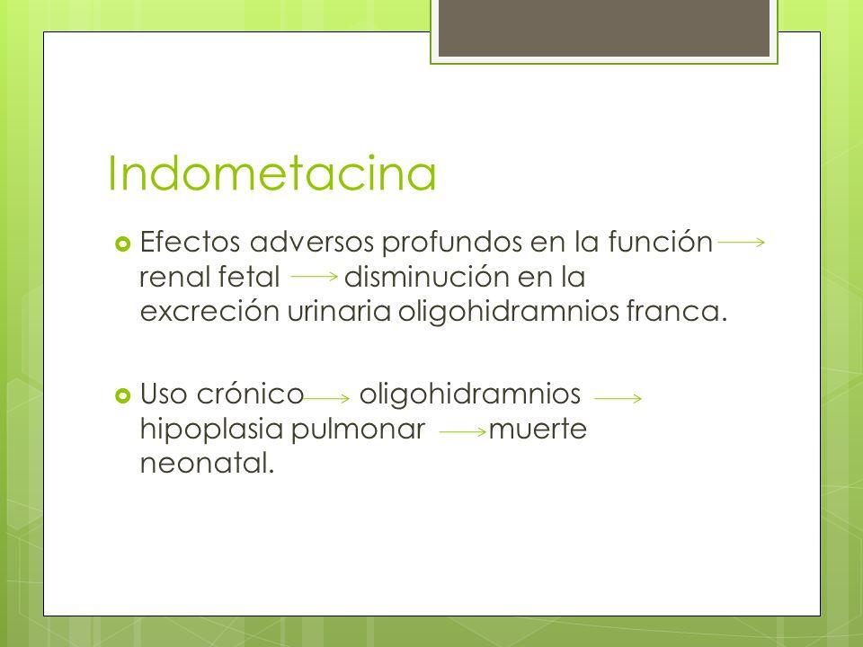 IndometacinaEfectos adversos profundos en la función renal fetal disminución en la excreción urinaria oligohidramnios franca.