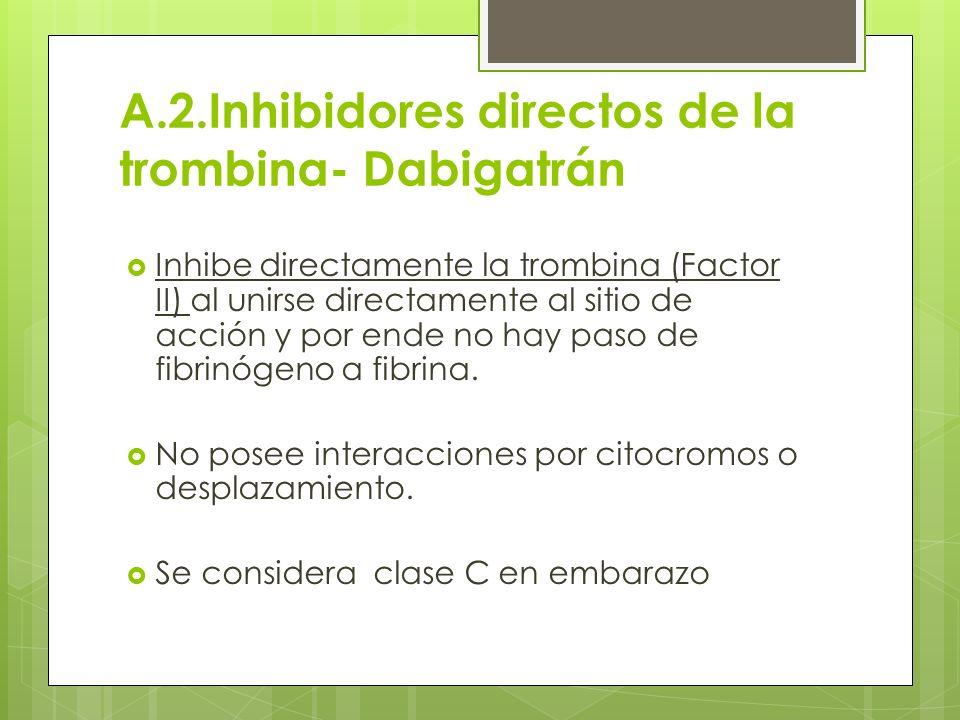 A.2.Inhibidores directos de la trombina- Dabigatrán