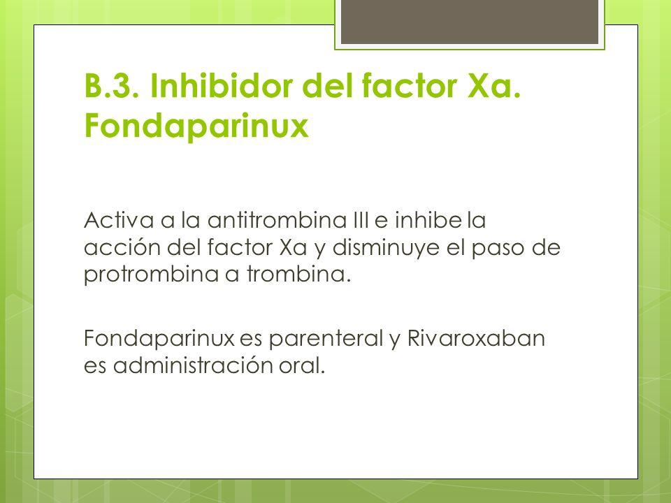 B.3. Inhibidor del factor Xa. Fondaparinux
