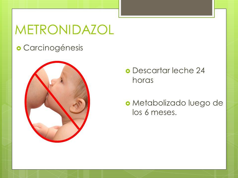 METRONIDAZOL Carcinogénesis Descartar leche 24 horas