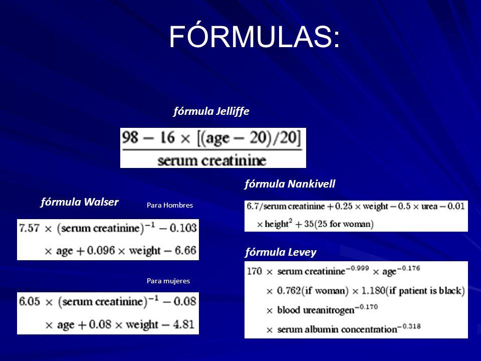 FÓRMULAS: fórmula Jelliffe fórmula Nankivell fórmula Walser