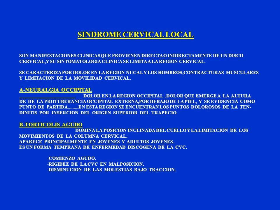 SINDROME CERVICAL LOCAL