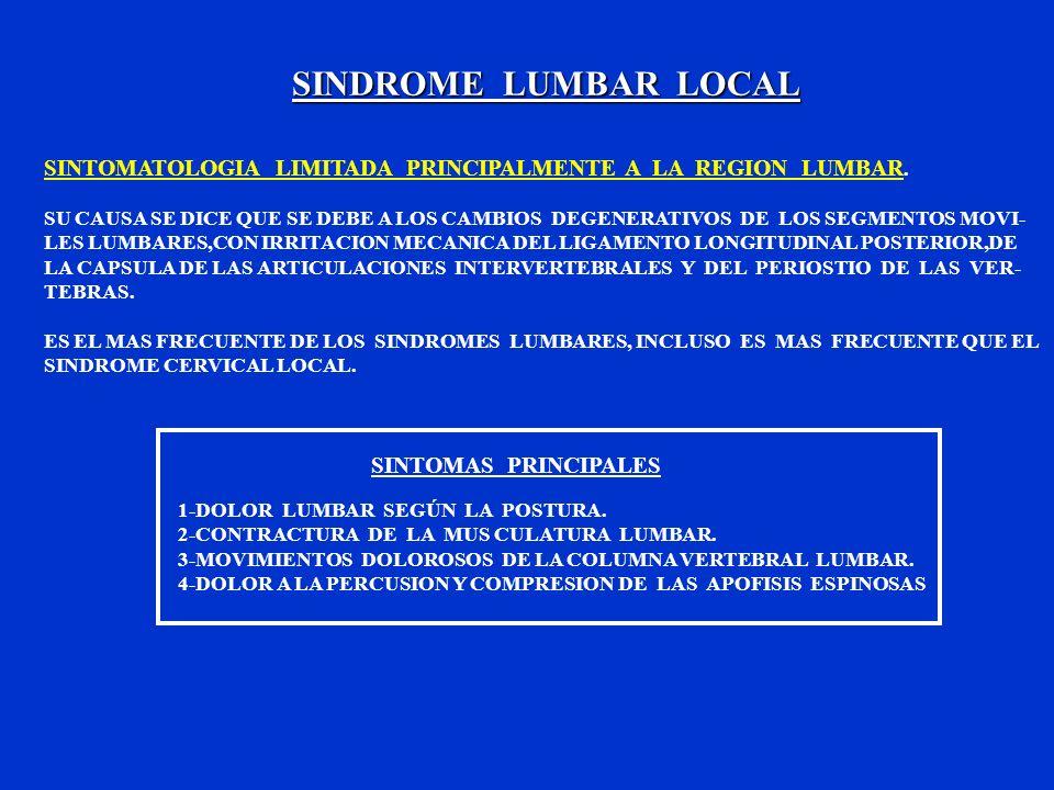 SINDROME LUMBAR LOCALSINTOMATOLOGIA LIMITADA PRINCIPALMENTE A LA REGION LUMBAR.