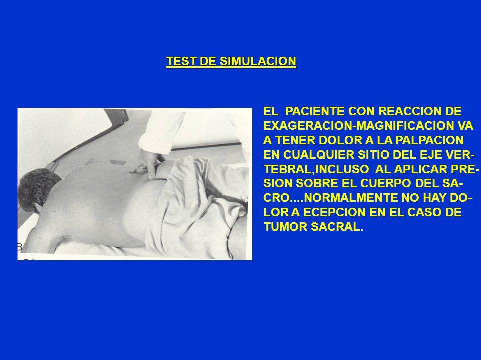 TEST DE SIMULACIONEL PACIENTE CON REACCION DE. EXAGERACION-MAGNIFICACION VA. A TENER DOLOR A LA PALPACION.
