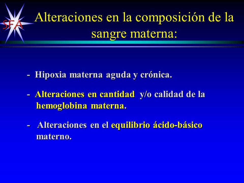 Alteraciones en la composición de la sangre materna: