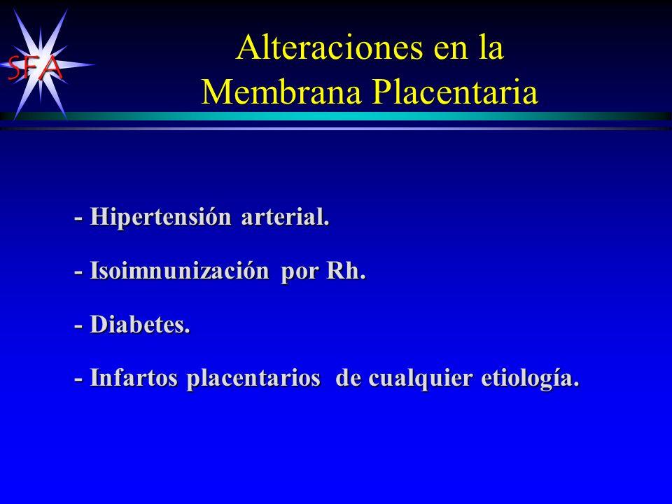 Alteraciones en la Membrana Placentaria