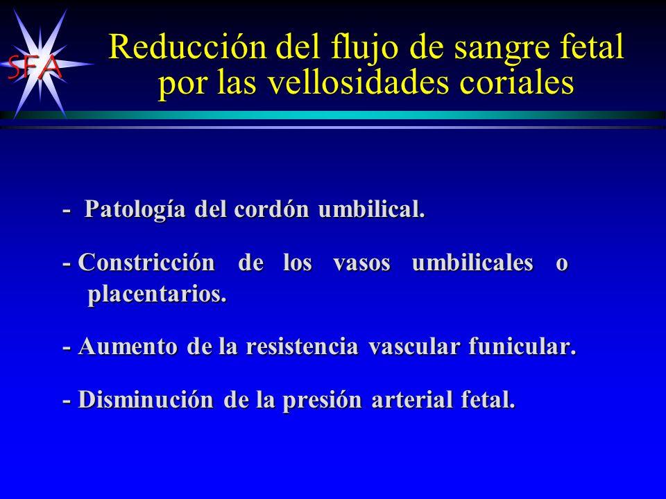 Reducción del flujo de sangre fetal por las vellosidades coriales