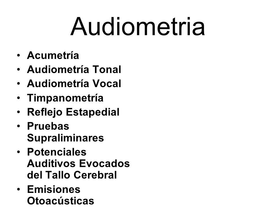 Audiometria Acumetría Audiometría Tonal Audiometría Vocal