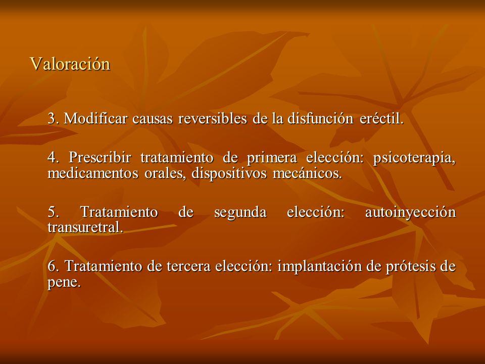 Valoración 3. Modificar causas reversibles de la disfunción eréctil.