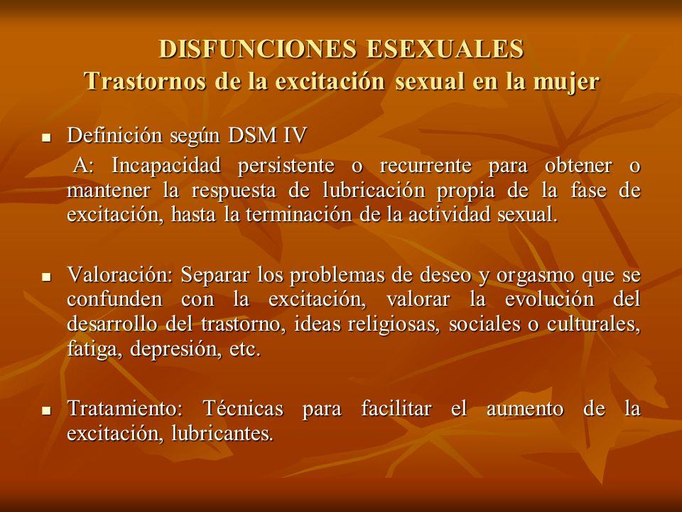 DISFUNCIONES ESEXUALES Trastornos de la excitación sexual en la mujer