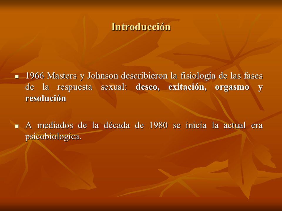 Introducción 1966 Masters y Johnson describieron la fisiología de las fases de la respuesta sexual: deseo, exitación, orgasmo y resolución.