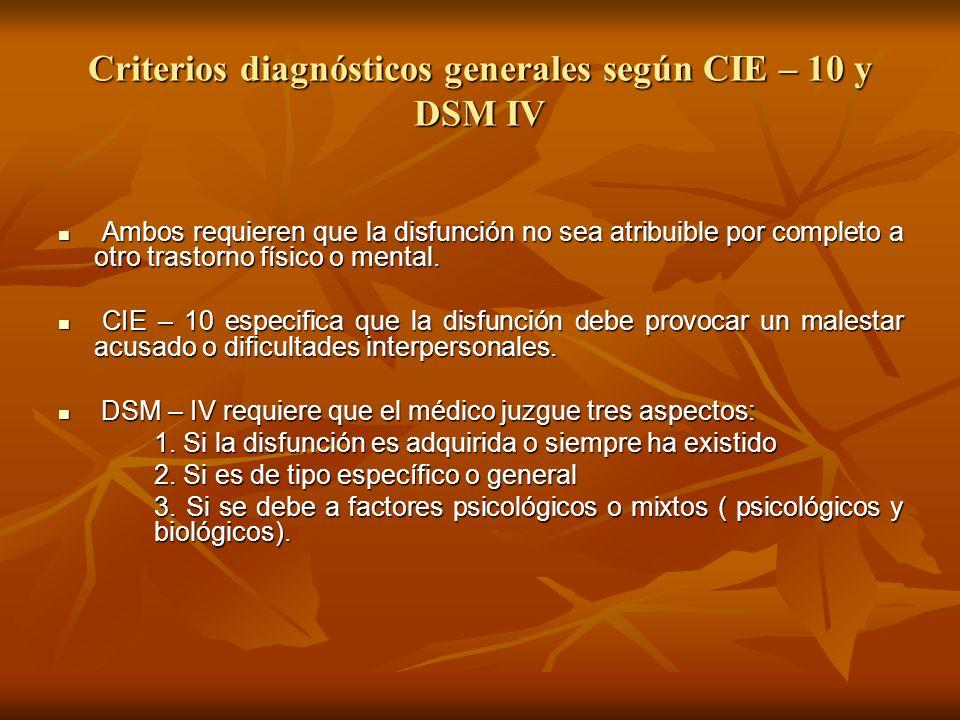 Criterios diagnósticos generales según CIE – 10 y DSM IV