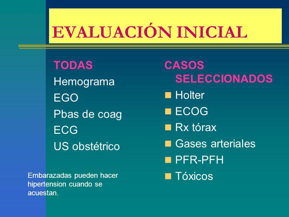 EVALUACIÓN INICIAL TODAS Hemograma EGO Pbas de coag ECG US obstétrico