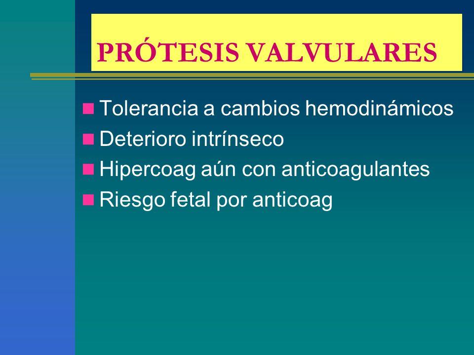 PRÓTESIS VALVULARES Tolerancia a cambios hemodinámicos