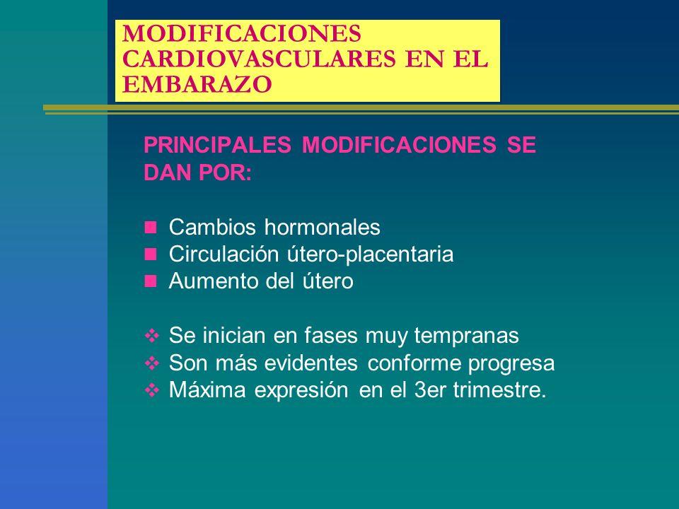 MODIFICACIONES CARDIOVASCULARES EN EL EMBARAZO