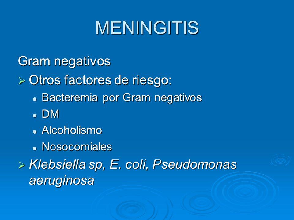 MENINGITIS Gram negativos Otros factores de riesgo: